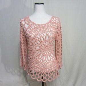 Boston Proper, Coral/Peach Crochet top, Floral